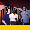 "Recording ""Down by the Riverbank"", ""Azure"" sessions, 1999.  David Longdon, Count Indigo and Louis"